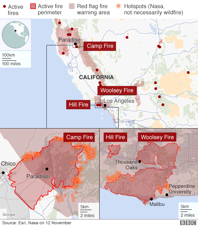 BBC News image showing the wildfires further south in California, with the Woosley Blaze being of note, the fire has consumed at least 85,500 acres and destroyed at least 177 buildings, officials said. It is only 10% contained. The smaller Hill Fire, nearby, has scorched 4,530 acres and is 75% contained.